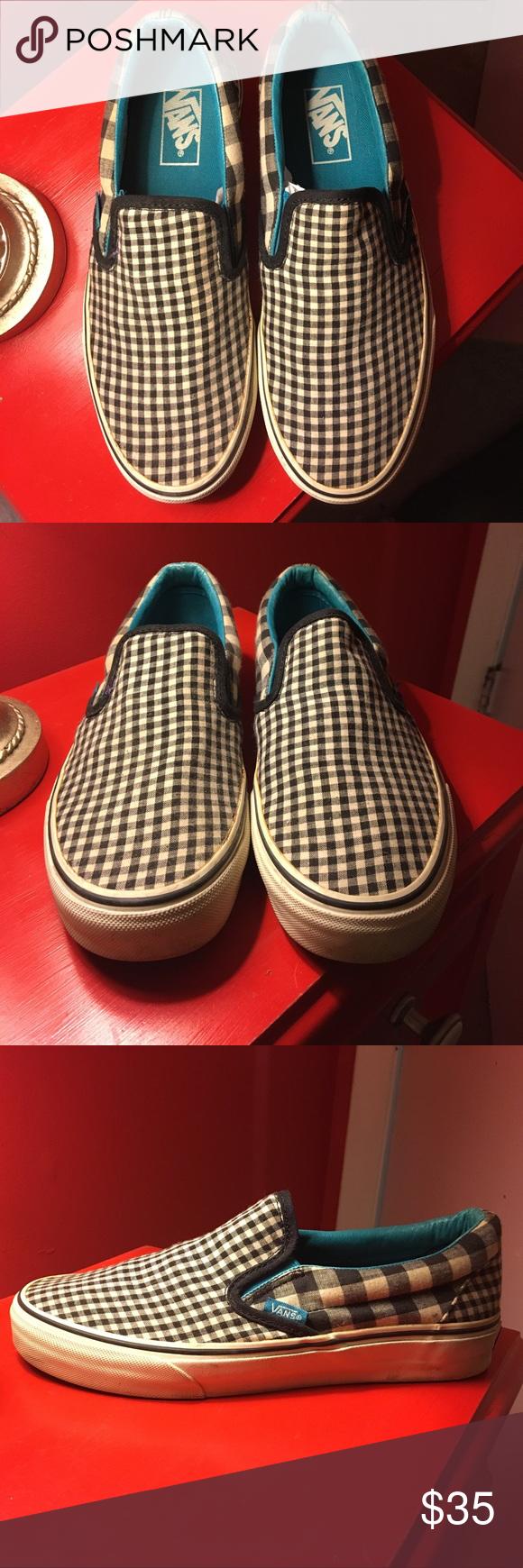 Vans Black \u0026 White Checkered Slip-ons