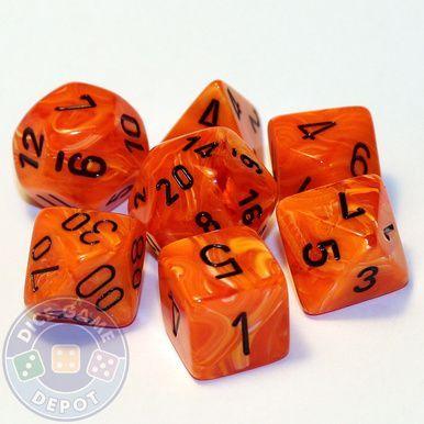 Chessex Translucent dice set Orange and White set of 12 standard dice set 16mm