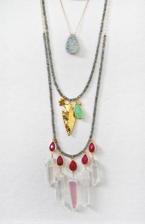 Labradorite Ruby Bezel and Quartz Necklace por shopkei en Etsy