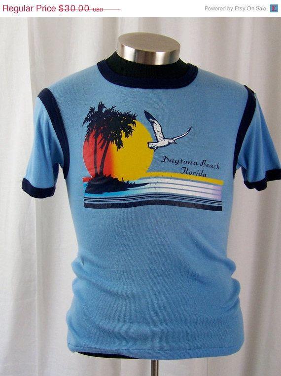 On Vintage 1970s Daytona Beach Surf T Shirt