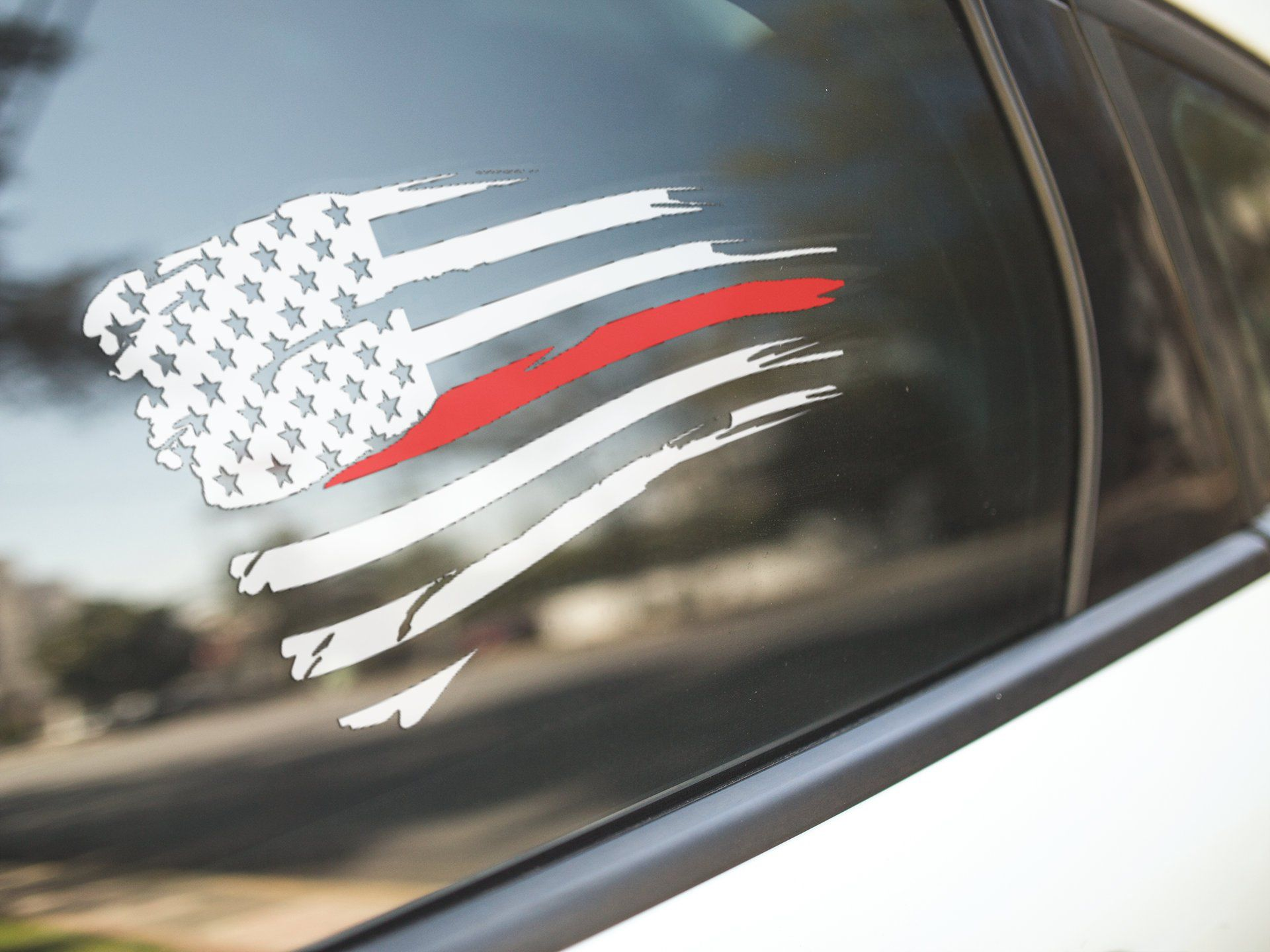 Thin Red Line Tattered Flag Decal, American Flag Decal