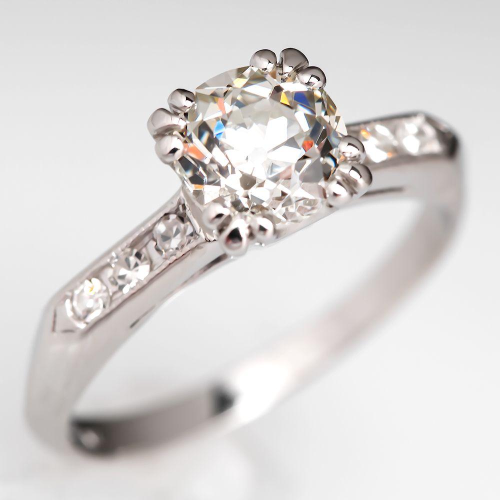 carat old euro diamond vintage engagement ring platinum vintage