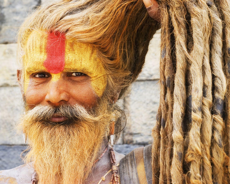 Sadhu holy man showing his dreadlocks kathmandu nepal tibet