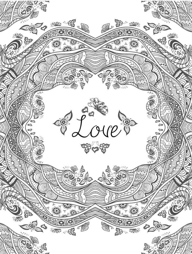 Complex love coloring page for adults