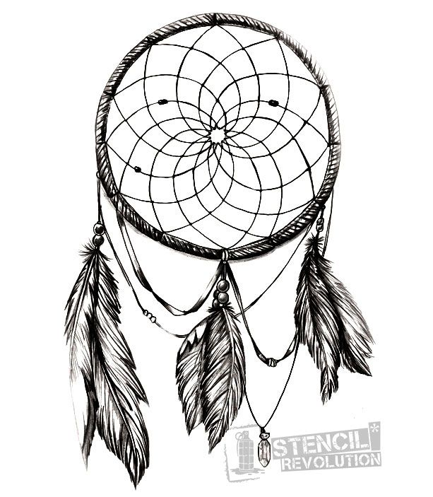 Dream catcher stencil printable stencils dream catchers for Dreamcatcher tattoo template