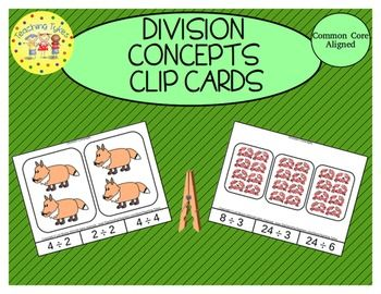 Division Concept Clip Cards Clip Cards Fifth Grade Math Second Grade Math