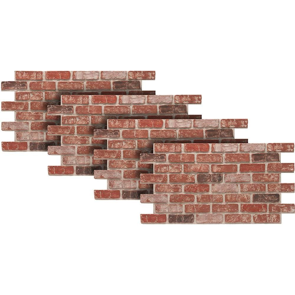 Urestone Old Town 24 In X 46 3 8 In Faux Used Brick Panel 4 Pack Ul2600pk 70 The Home Depot Faux Stone Panels Faux Brick Walls Brick Wall Paneling