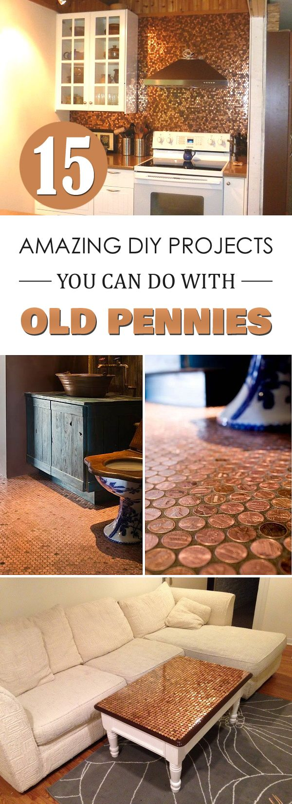 15 amazing diy projects you can do with old pennies m nzen recycling m bel und selber machen. Black Bedroom Furniture Sets. Home Design Ideas