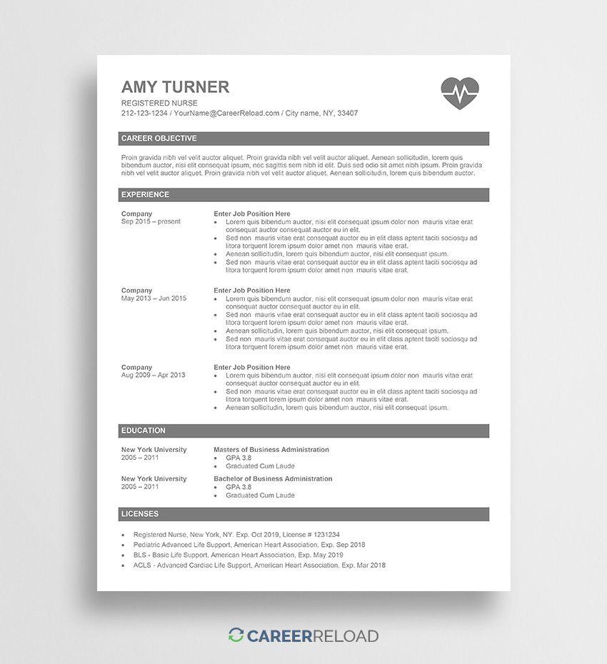 Free Nurse Resume Template Amy in 2020 Nursing resume
