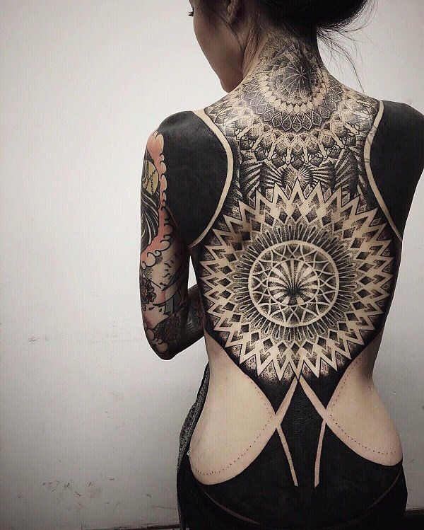 Image Result For Cover Up Big Back Tattoos Blackout Tattoo