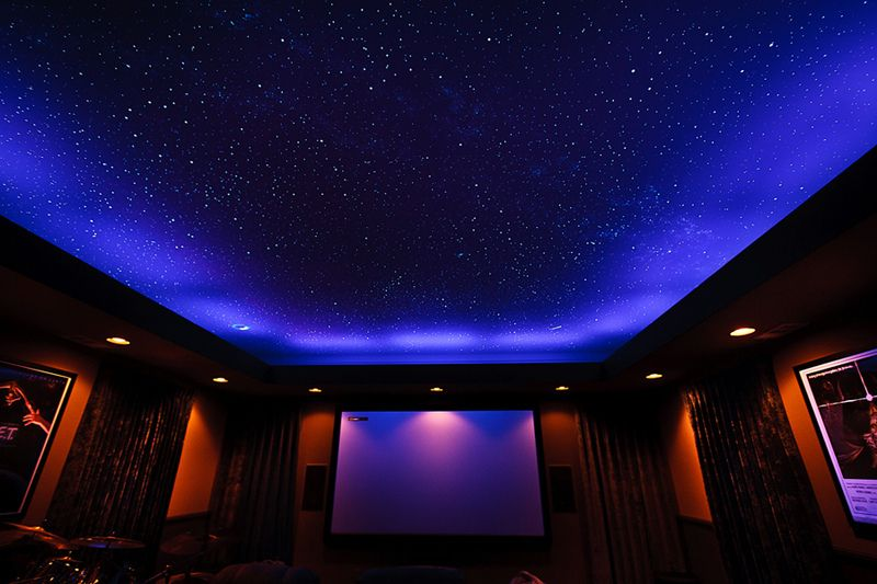 theater room lighting. California Home Theater Room With Black Lights On, And Star Ceiling Visible. | Lighting