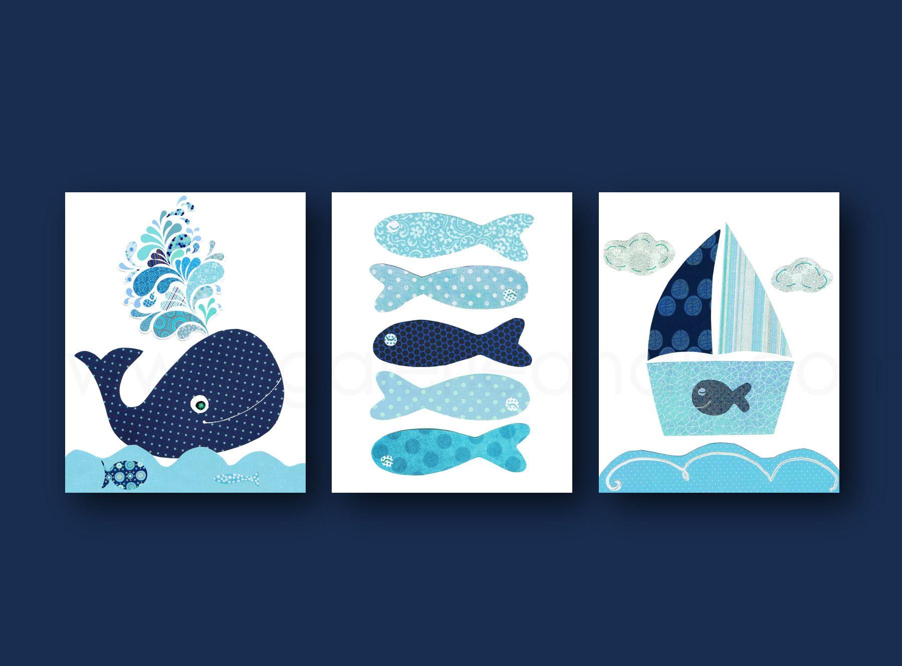 Lot de 3 illustrations pour chambre d\'enfant et bebe, navy ...