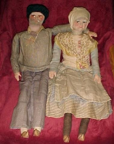 Antique French Smoker Doll Pair Boudoir Bed Dolls 28 | #68899431