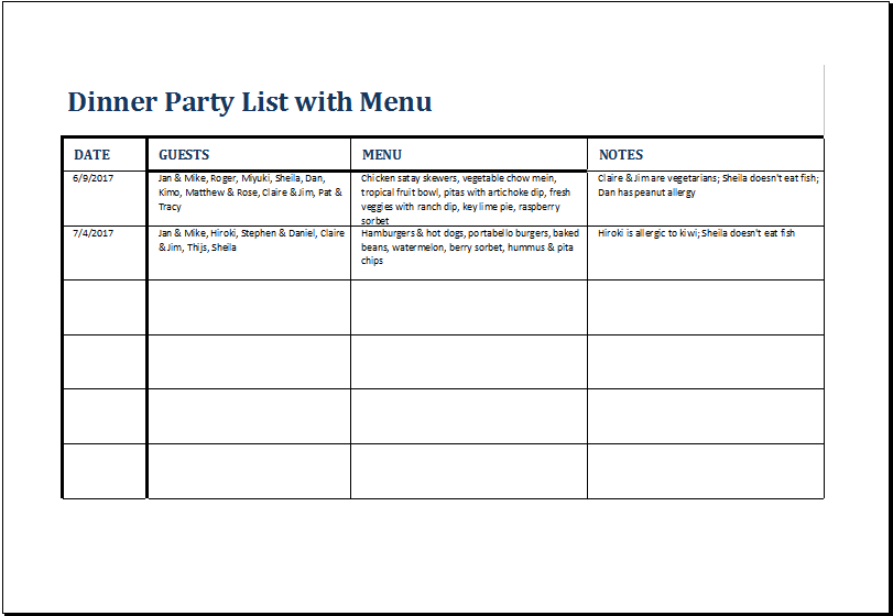 Dinner Party List With Menu Template At HttpWwwXltemplatesOrg