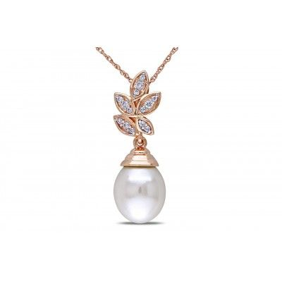 1/10 CT Diamond TW 9-9.5mm White Freshwater Pearl 10K Pink Gold Pendant Necklace
