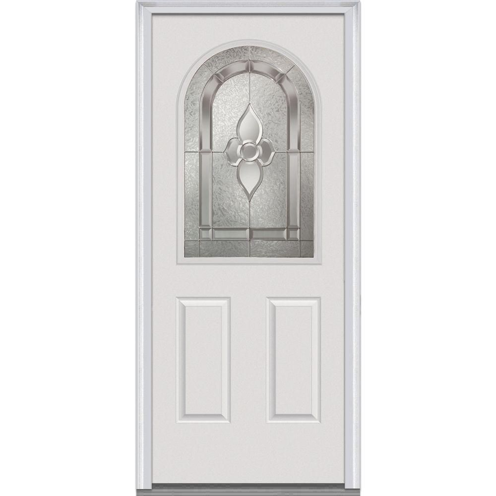 Milliken Millwork 33 5 In X 81 75 In Master Nouveau Decorative Glass 1 2 Lite 2 Panel Primed White Fiberglass Smooth Steel Doors Exterior Front Door