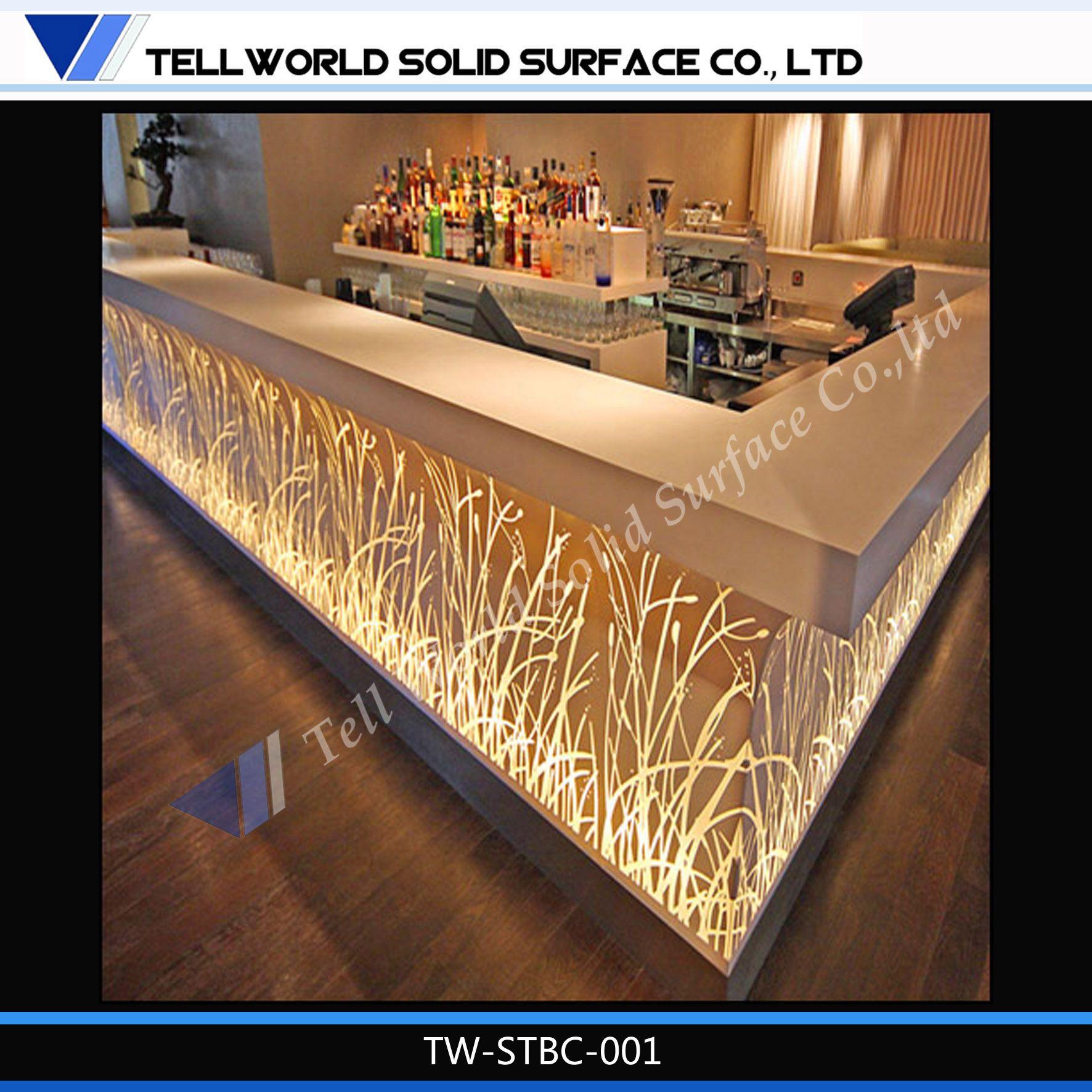 led modern fancy bar counter design
