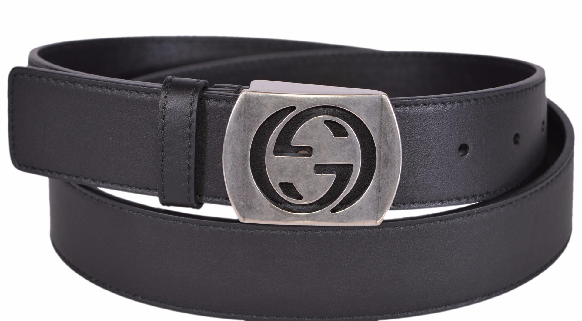 fd78cc3c676 New Gucci Men s 387031 Black Leather Cut Out Palladium GG Belt 42 105. Free  shipping and guaranteed authenticity on New Gucci Men s 387031 Black  Leather Cut ...