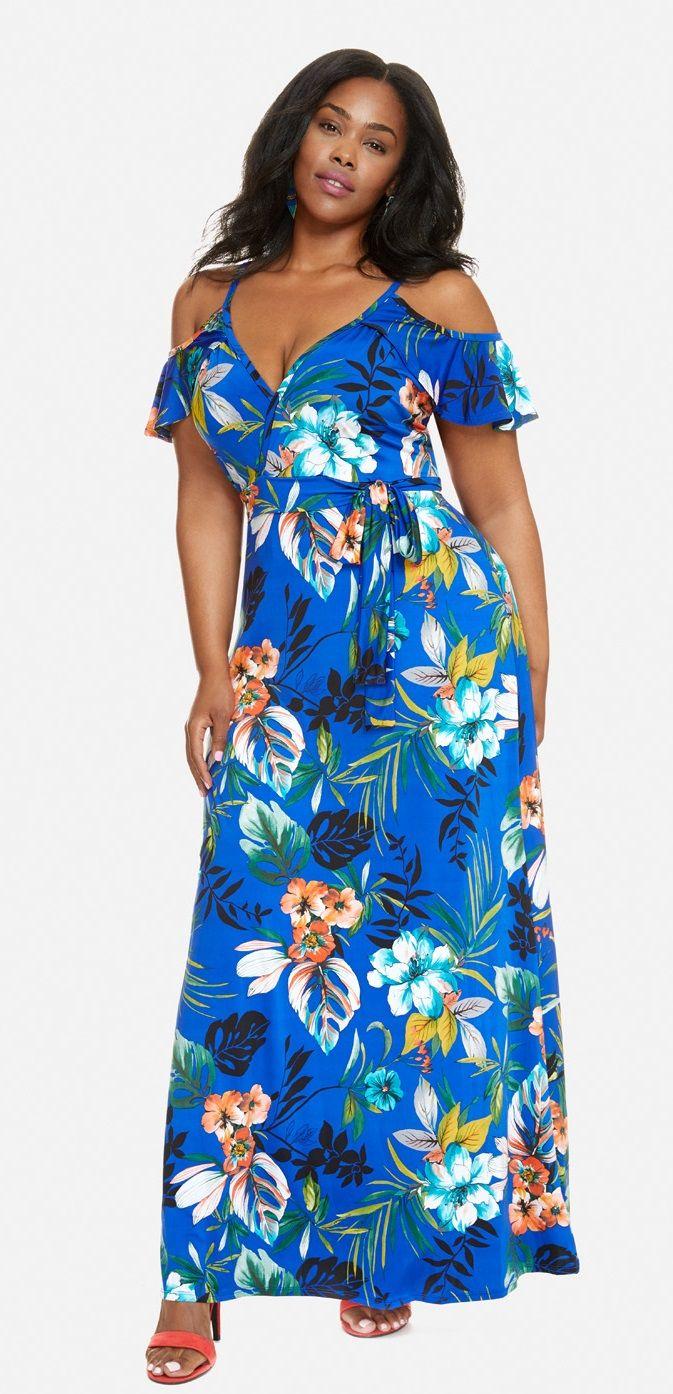 b8cd20e26c5 Plus Size Cold Shoulder Maxi Dress