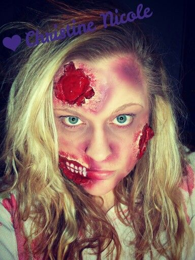 Halloween Zombie Makeup. Not too bad for my first time doing any kind of Special FX makeup. Used Elmers Glue, Toilet Paper, Makeup and Strawberry Pie ...