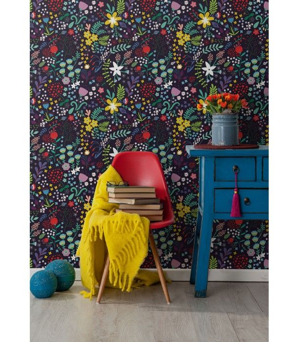 A Beautiful, Bright And Whimsical Floral Wallpaper Thats Ideal For The Warm  Colorful Days Of