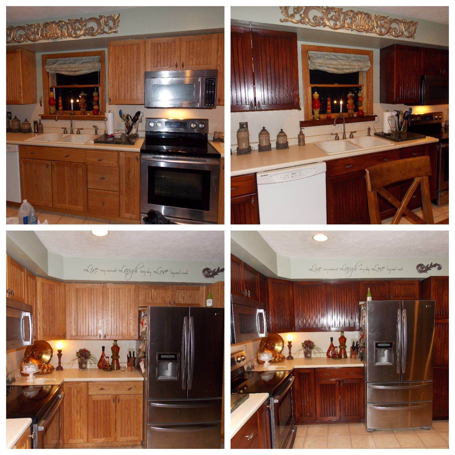 honey oak kitchen restained using general finishes brown mahogany