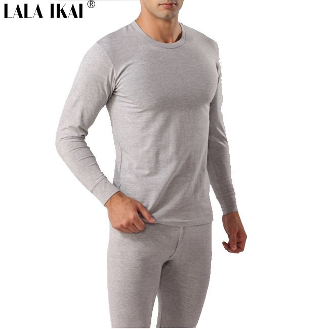 Men Thermal Underwear 100% Cotton Solid Warm Quality Sleep Set Top ...