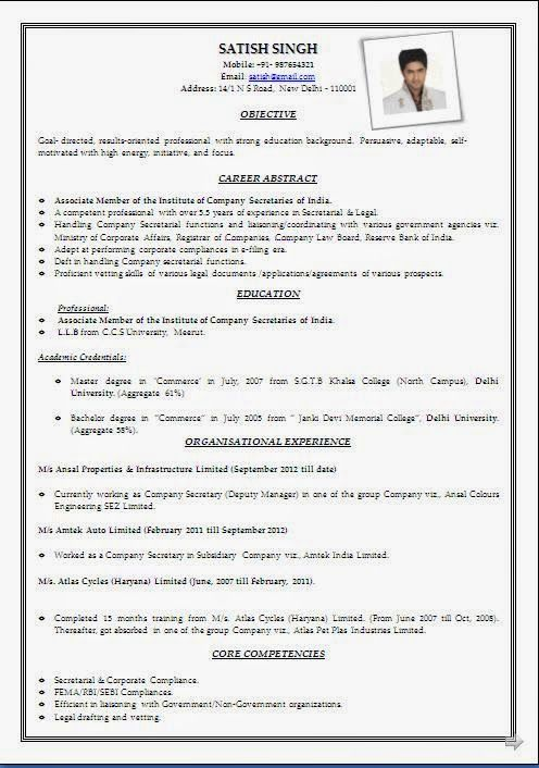 curriculum vitae simple word Sample Template Example ofExcellent - Simple Format For Resume