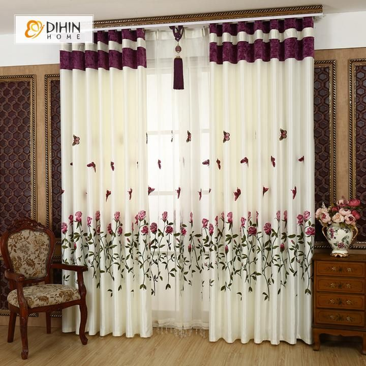 Dihin Home Red Roses And Butterflies Printed Blackout Grommet Window Curtain For Living Room 52x63 Inch 1 Panel Stylish Curtains Curtains Living Room Cool Curtains