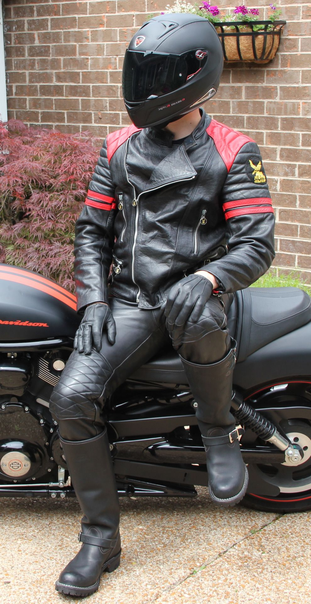 Biker in leather fetish