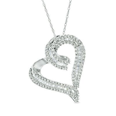 Zales Diamond Accent Puffed Heart Pendant in 10K White Gold qwv7XLOw