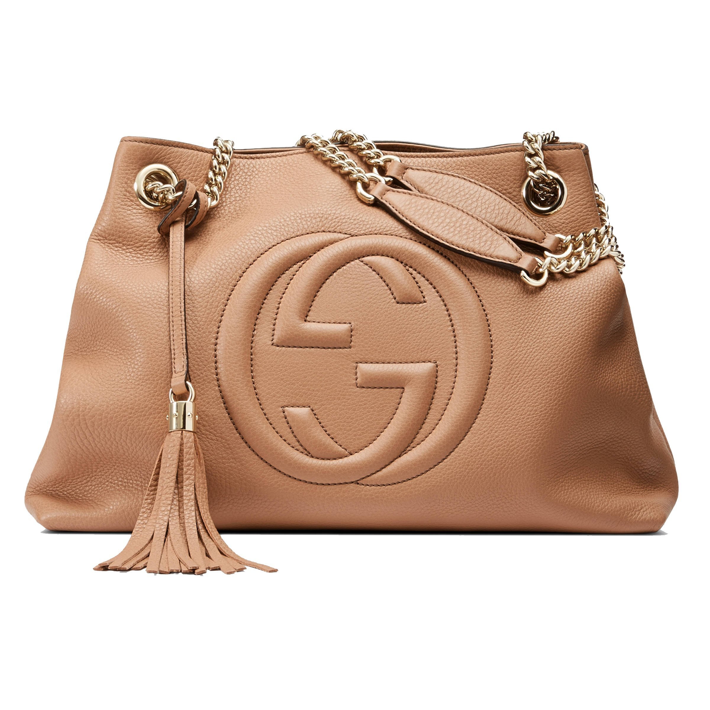 dd7d64ee3f45 Gucci Soho Interlocking G Leather Chain Shoulder Bag 308982 Camelia Beige