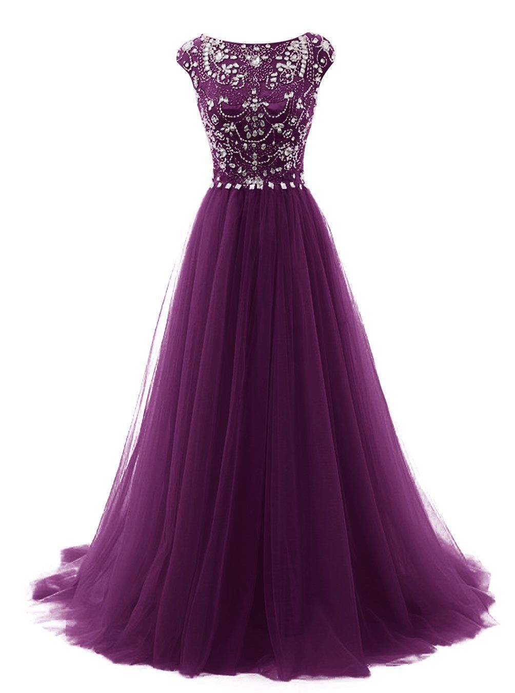 Tideclothes Long Beads Prom Dress Tulle Cap Sleeves Evening Dress ...