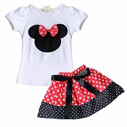 e439d2ef2 iEFiEL Conjunto de Camiseta y Pantalones Cortos o Falda de Verano para  Bébes y Niñas con Lunares Minnie Mouse Falda Rojo 2-3 Años  camiseta   starwars ...