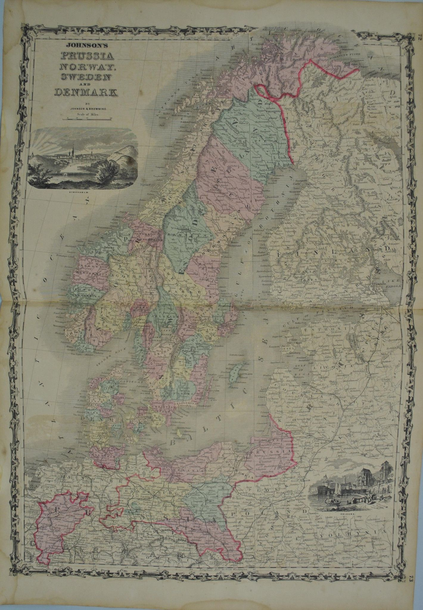 1860 Prussia Norway Sweden Denmark - Johnson | Products ... on 1860 map of liberia, 1860 map of mexico, 1860 map of upper silesia, 1860 map of czechoslovakia,