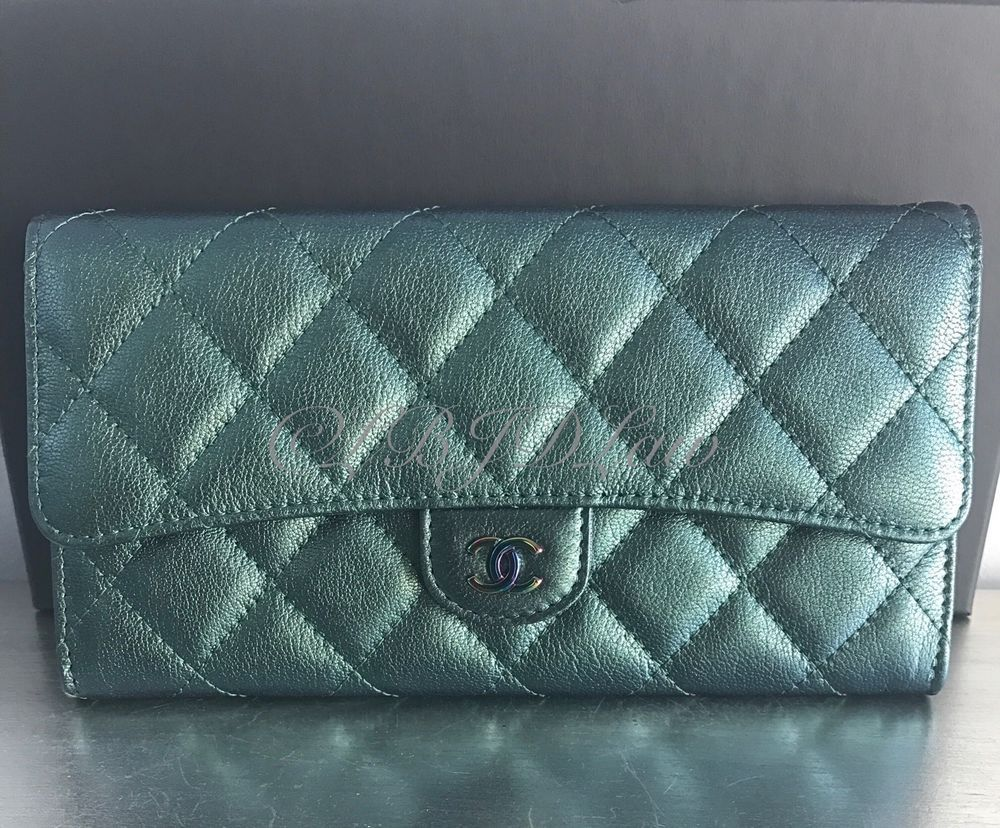 a1f4a1c6c311 NWT CHANEL 2016 16C RARE Iridescent GREEN Long Wallet Purple Rainbow Mermaid  1900.00