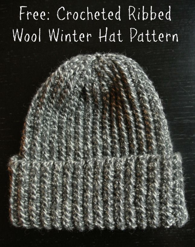 Crochet Pattern Ribbed Wool Winter Hat Free Crochet Unisex And