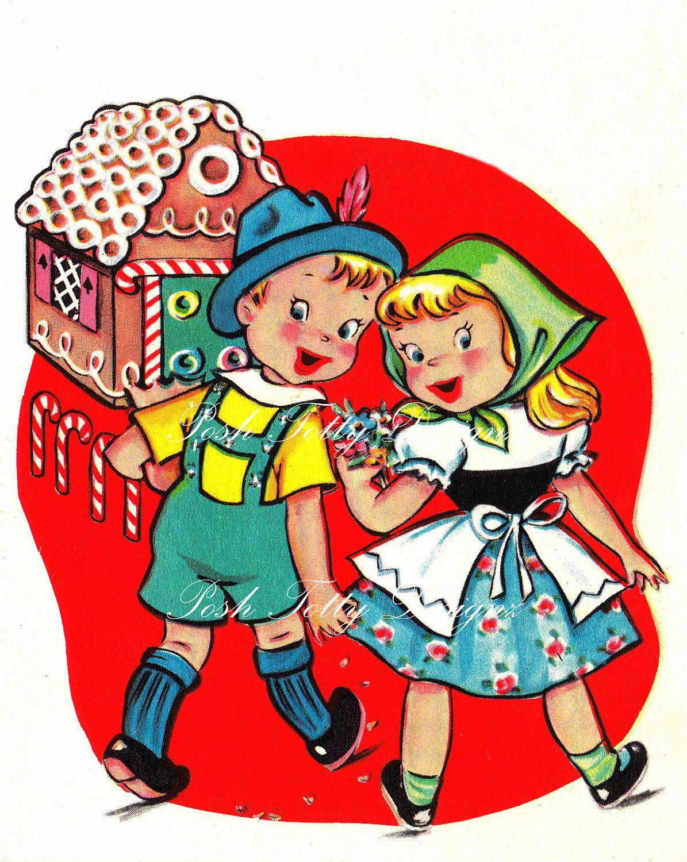Hansel And Gretel And The Gingerbread House 1950s Vintage Digital Download Images 196 2 50 Via Etsy Vintage Valentines Decoupage Vintage Vintage Cards