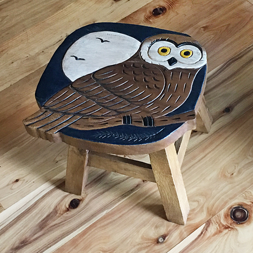 Carved Wood Owl Stool Wood Owls Wood Carving Carving