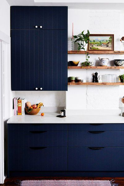 Here's How to Make IKEA Cabinets Look Seriously HighEnd - Blue kitchen cabinets, Ikea cabinets, Kitchen cabinets in bathroom, Ikea kitchen cabinets, Kitchen planner, Cabinet - Hint no painting necessary