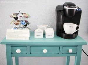 Hot Drinks Station Table Makeover using Annie Sloan Chalk Paint in Provence   Tutorial with step by step breakdown for beginners! There is NO need to be intimidated by this medium any longer. Trust me! You are going to fall in love.