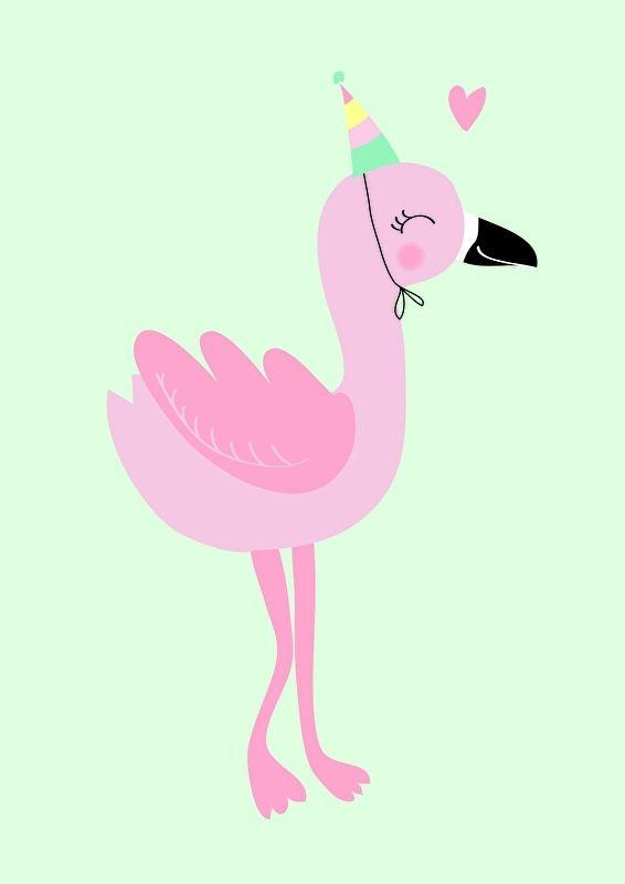 Poster Flamingo A4 Deze vrolijke flamingo bouwt een feestje op de babykamer / kinderkamer van jouw kleine meisje. Ook als ansichtkaart verkrijgbaar.