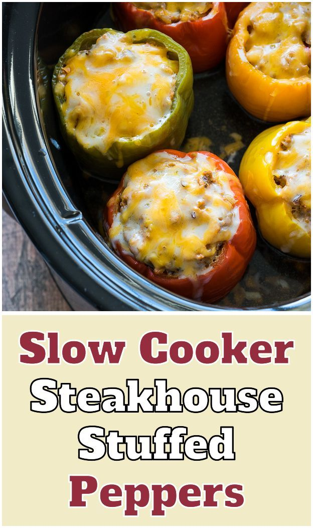 Slow Cooker Steakhouse Stuffed Peppers. light blue slow cooker These Slow Cooker... - #cooker #light #peppers #steakhouse #stuffed #these - #OvernightFrenchToast