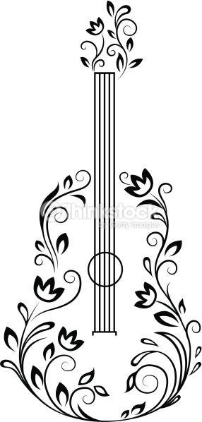Guitar With Floral Details For Entertainment Design Desenho