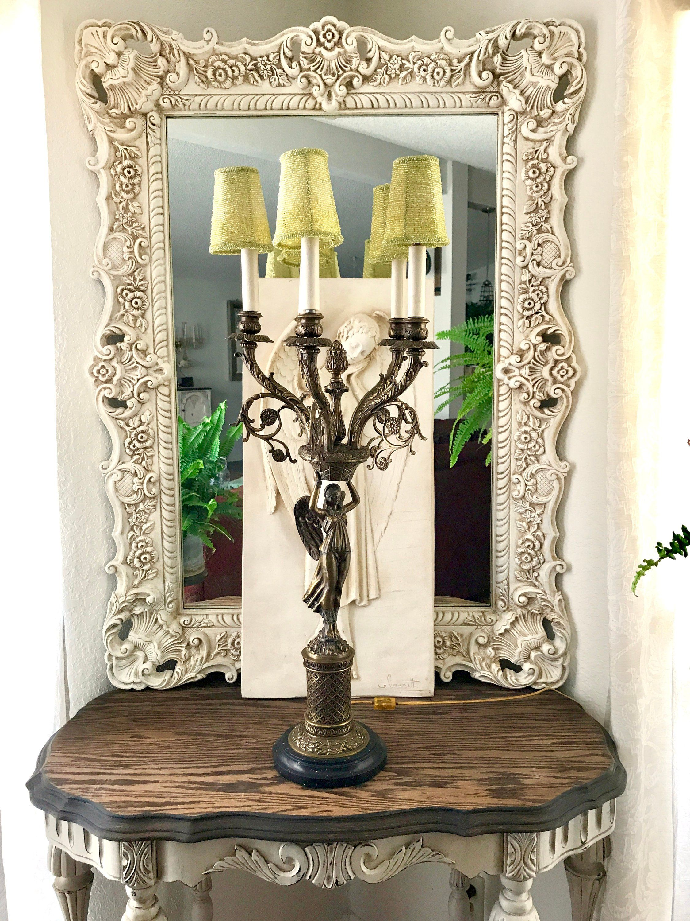 Antique Angel Bronze Candelabra Lamp 33 Tall 5 Arm Candelabra Table Lamp With Figural Angel And Marble B Bronze Candelabras Victorian Lamps Bronze Table Lamp