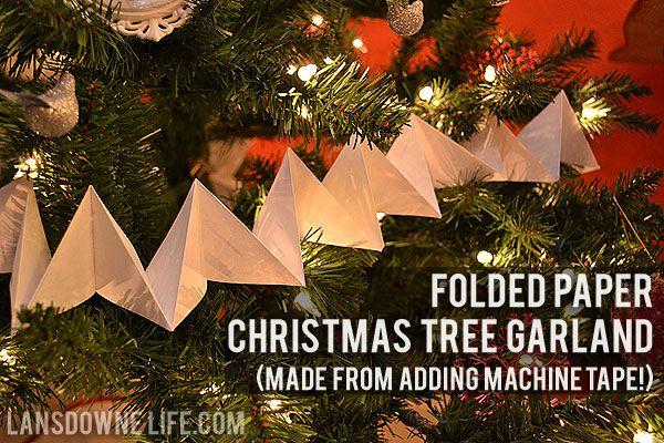 Folded Christmas Tree Garland made with adding machine tape.