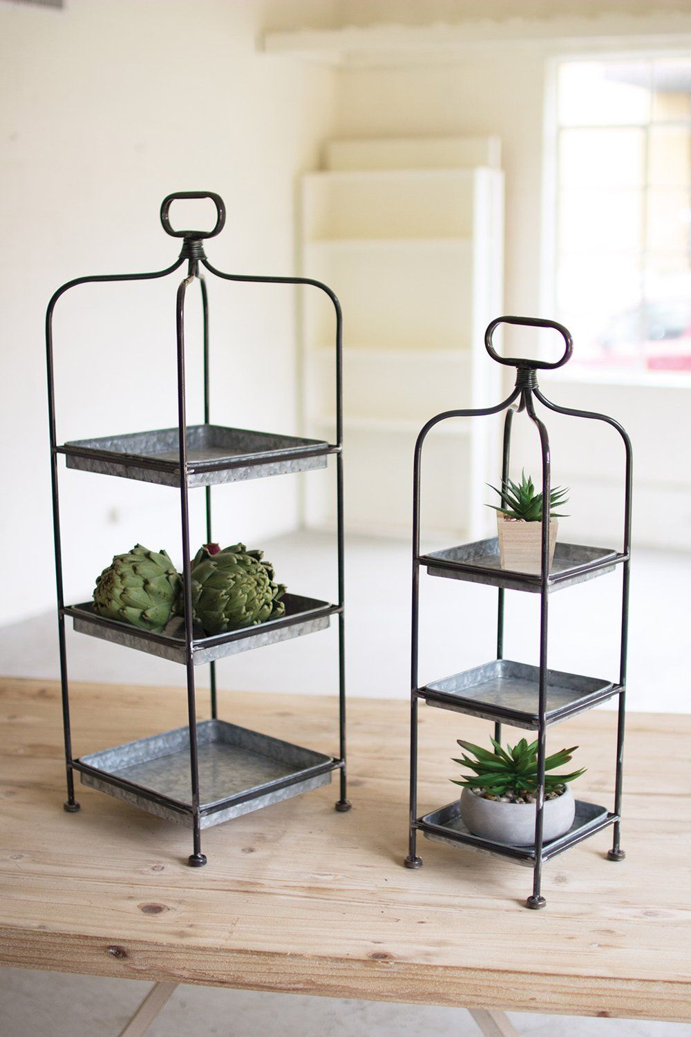 Photo of FREE SHIPPING – Modern Farmhouse galvanized  Metal Display Stands-Set of Two