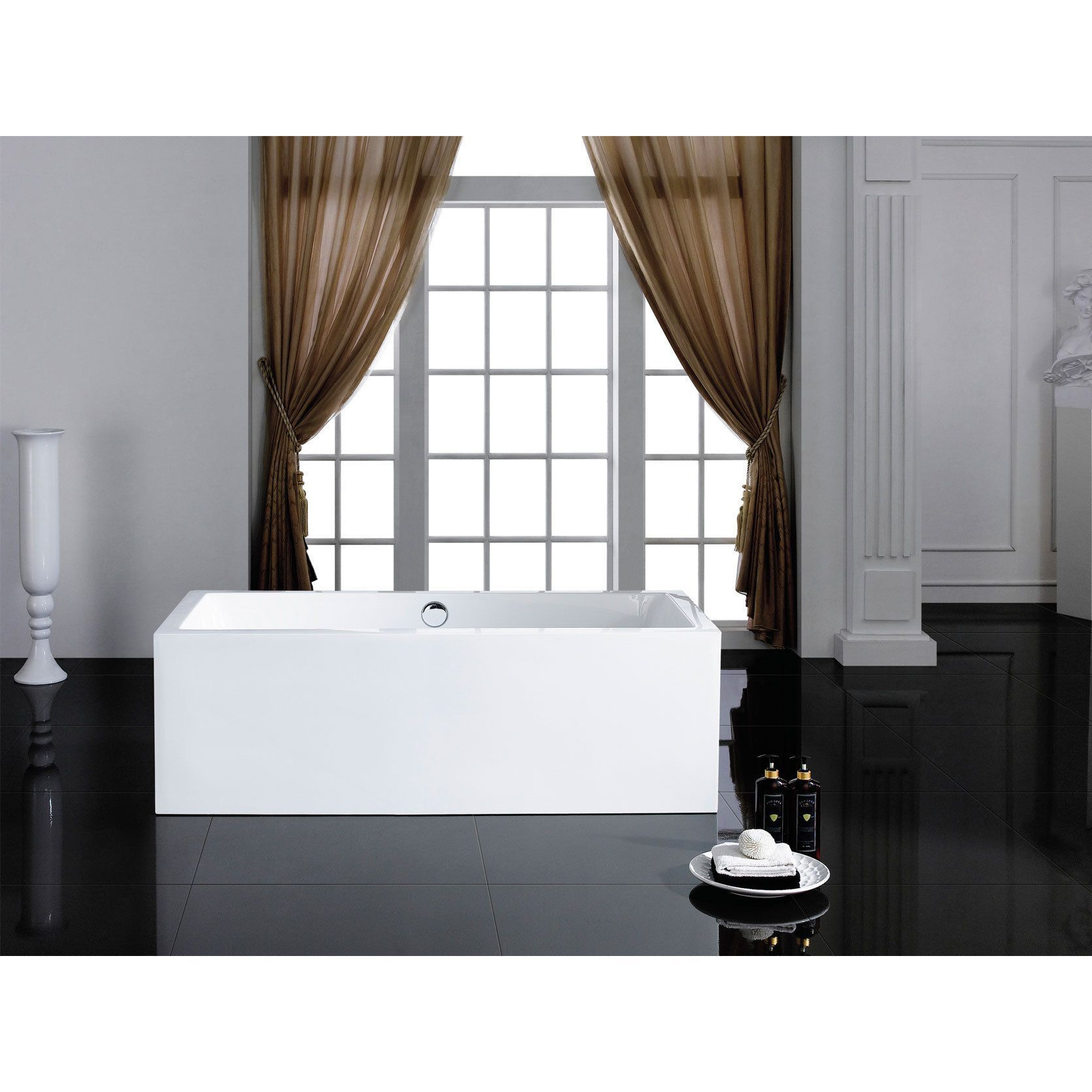 Pacific Collection Caesar 60-inch x 31-inch White Rectangle Soaking ...