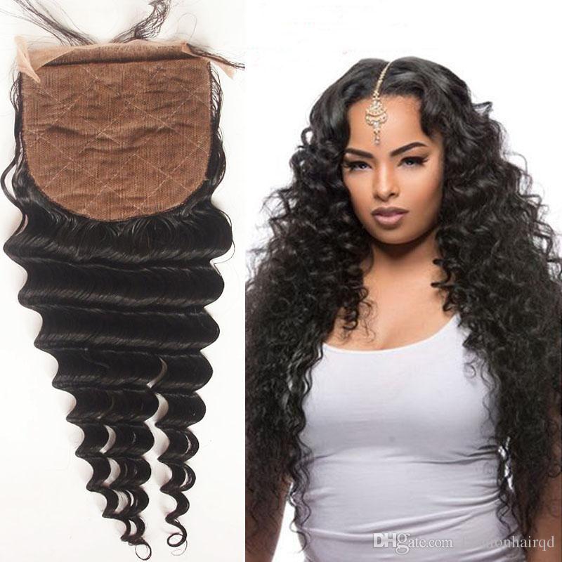 Malaysian Deep Wave Silk Closure Free Part Middle Part 3 Part 6a Grade 100 Unprocessed Virgin Human Hair Sil Weave Hairstyles Peruvian Hair Weave Silk Closure