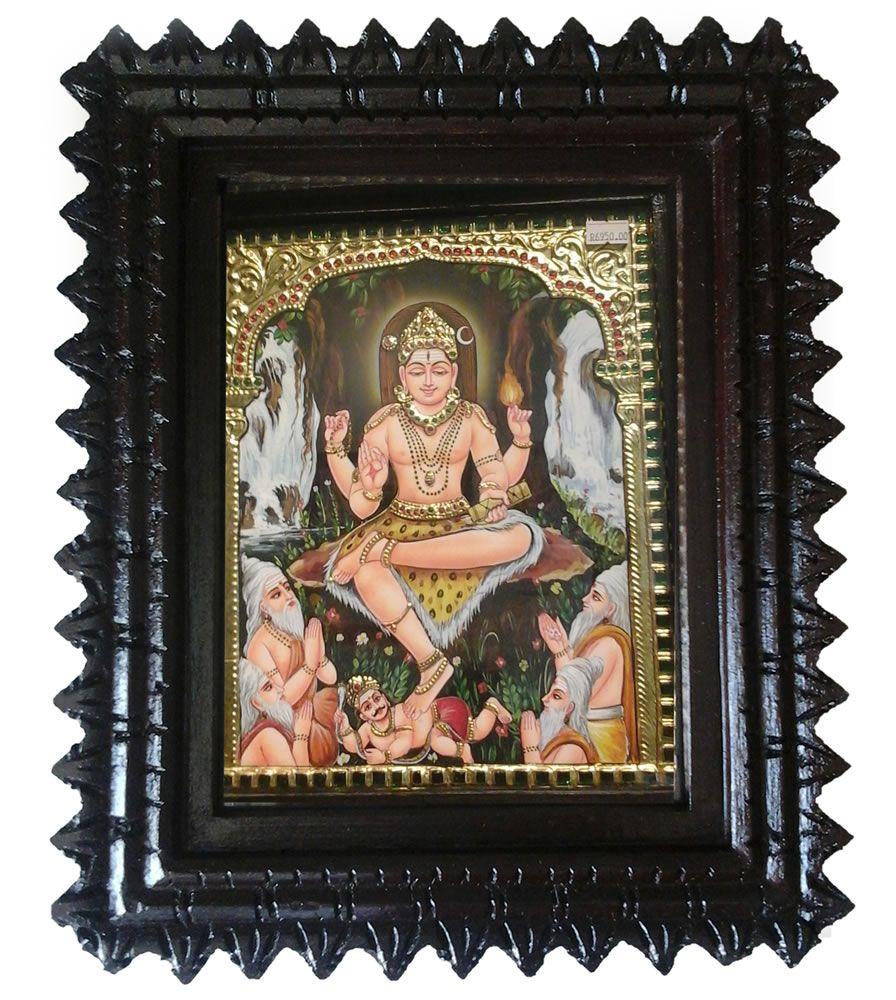 Buy tanjore #painting - lord dakshina murthy online from #craftshopsindia   #tanjorepainting